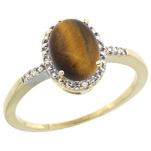 (10K Yellow Gold Diamond Natural Tiger Eye Ring Oval 8x6mm, size)