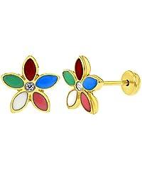 18k Gold Plated Multicolor Enamel Flower Safety Stud Girl Baby Earrings