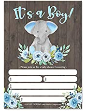 25 Boy Elephant Baby Shower Invitations, Sprinkle Invite for Boy, Coed Greenery Gender Reveal Theme, Cute Rustic Animal Peanut DIY Fill or Write in Blank Printable Card, Blue Garden Party Supplies