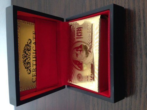 24k Gold Plated Figure - 24k Gold Plated Playing Cards Full Poker Deck 99.9% Pure with Wood Box by GoldCardz.com
