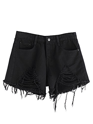 MakeMeChic Women's Cutoff Pocket Distressed Ripped Jean Denim Shorts Black-1 L by MakeMeChic