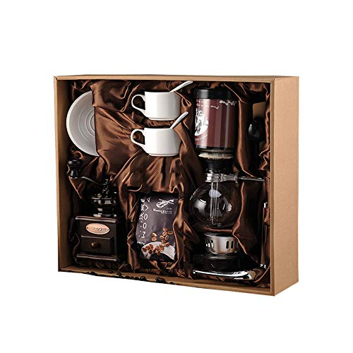Vintage Style Siphon Coffee Pot Set Manual Coffee Grinder Home Coffee Maker Machine with Gift Box