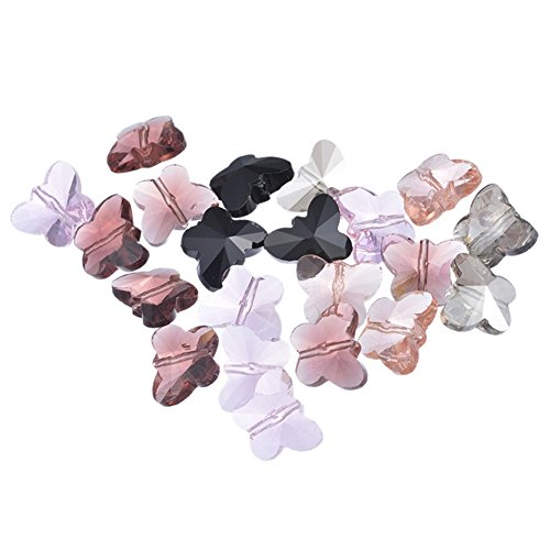 30PCS Butterfly Mixed Crystal Quartz Beads Charm for DIY Jewelry Making Findings 15x12mm