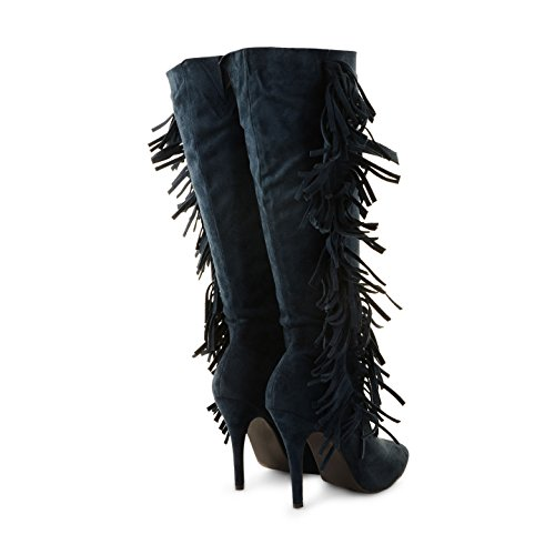 Ladies Womens Tassel Faux Suede señaló Toe Stiletto talón hasta la rodilla botas tamaño azul marino
