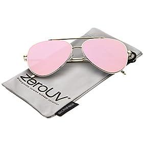 zeroUV - Mod Fashion Teardrop Rimless Mirror Flat Lens Metal Frame Aviator Sunglasses 58mm