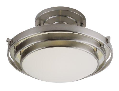 Trans Globe Lighting PL-2482-1 BN 1-Light Semi Flush-Mount, Brushed Nickel