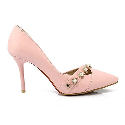 AllhqFashion Damen PU Leder Hoher Absatz Rein Ziehen auf Stiefel, Pink, 34
