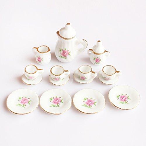 MonkeyJack 15 Dollhouse Miniature Dining Ware Pink Floral Ceramic Tea Set Pot Cup (Miniature Ceramic Tea Set)