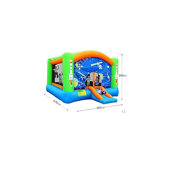 41nvaGgCkmL 【For the safety of children】: ------- This castle is an approved children's product certificate and has been tested for CPSC. The jumping area is surrounded by three sides of the mesh safety net to protect your child from falling and jumping. 【PVC material】: ------- This inflatable castle is made of environmentally friendly PVC material, which is wear-resistant, environmentally friendly, non-toxic, non-odorous, with a thick, non-slip bottom design that increases elasticity and makes children love sports. 【Bounce floor】: ------- The inflatable castle super-elastic floor gives more bounce freedom. The sturdy mesh housing and large support posts provide a secure and stable base for more bouncing fun.