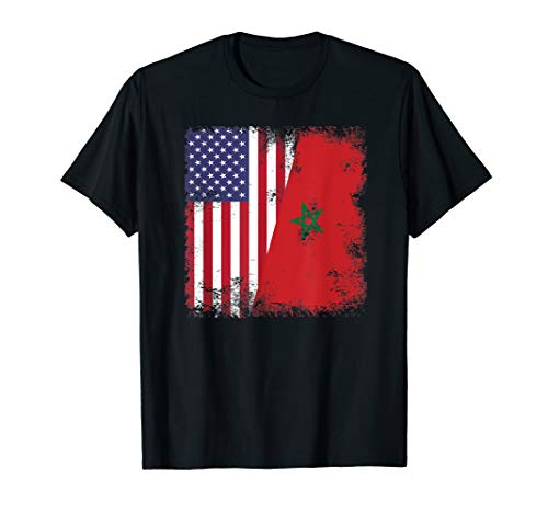 (Half Moroccan Flag T-Shirt | Vintage Morocco USA)