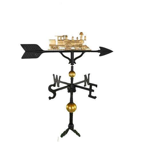 Montague Metal Products 32-Inch Deluxe Weathervane with Gold Train Ornament (Train Lawn Ornament)