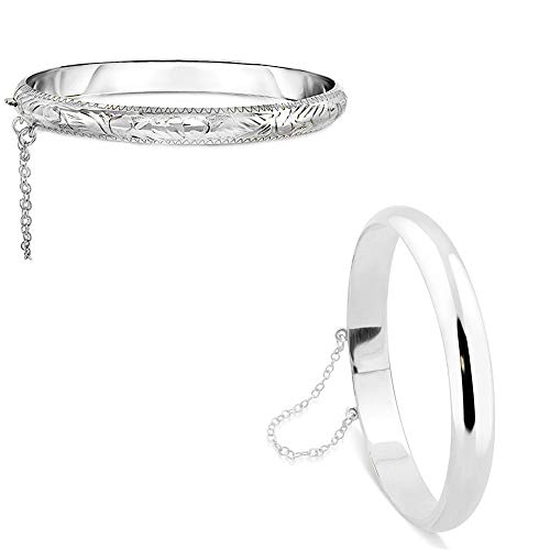 (Verona Jewelers Sterling Silver 925 7MM Plain and Engraved Bangles for Women- 2 Classic Bangle Styles (Bangle Set 1 Each))