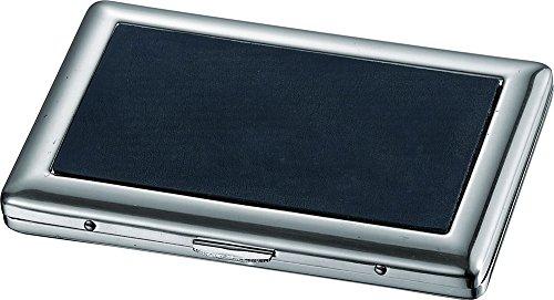 Visol Porter Black Leatherette Stainless Steel Cigarette - Single Case Cigarette Sided