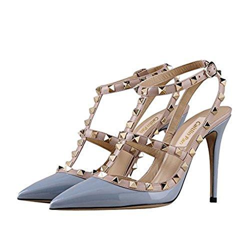 Caitlin Corte a alla Borchie Donna Moda Punta Cinturini da Blue 35 Stiletto Punta Strap Tacchi EU Pan Festa Patent Nude Scarpe 45 Sandali Caviglia con Alti r6wOqWrn