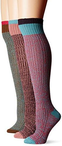 Muk Luks Women's 3 Pair Pack Color Block Knee High Socks, Multi, OSFM