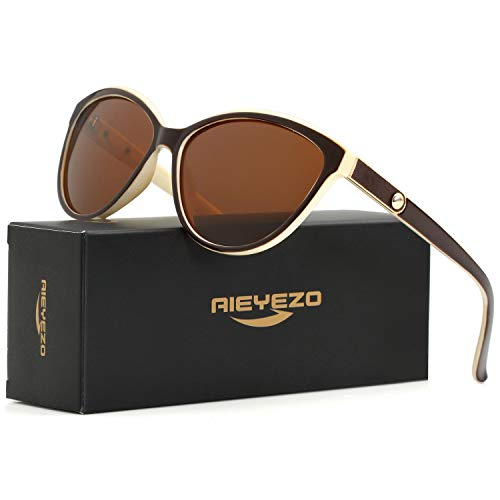 Cat Eye Polarized Sunglasses for Women Personality Inlaid Leather Luxury Brand Sun Glasses -100% UV Blocking (Beige/Brown)