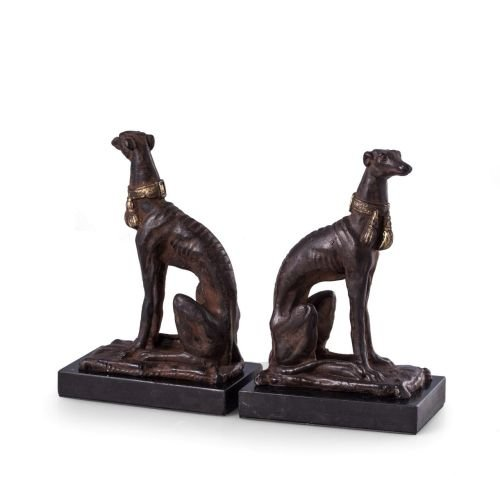 Bey-Berk R11W Cast Metal Whippet Bookends with a Patina Finish on Marble Base, Brown ()