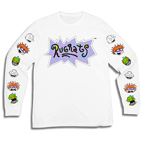 Nickelodeon Mens Long Sleeve Shirt - #TBT Mens 1990's Clothing - Rugrats, Hey Arnold, Ren and Stimpy (White, X-Large) -