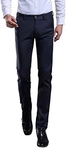 TALITARE Men's Elastic Stretch Business Workwear Slim Fit Suit Separate Pant