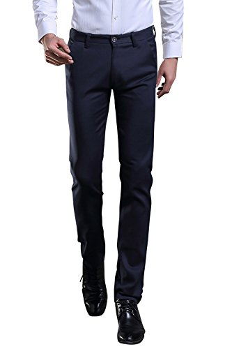 TALITARE Men's Elastic Stretch Business Workwear Slim Fit Suit Separate Pant Navy Blue, - Suit Men Wear