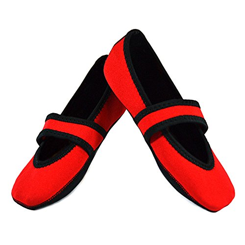 Nufoot Betsy Lou Womens Shoes, Best Foldable & Flexible Flats, Slipper Socks, Travel Slippers & Exercise Shoes, Dance Shoes, Yoga Socks, House Shoes, Indoor Slippers, Red, X-Large