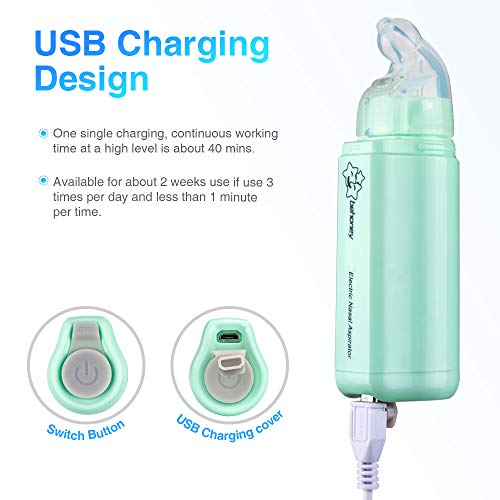 Nasal Aspirator, Bichiro Baby Mini Electric Nose Cleaner & Ear Wax Remover with 2 Suction Levels, Portable Snot Sucker with 2 Reusable Tips for Newborns, Infants & Toddlers, Safe and Hygienic (Green)