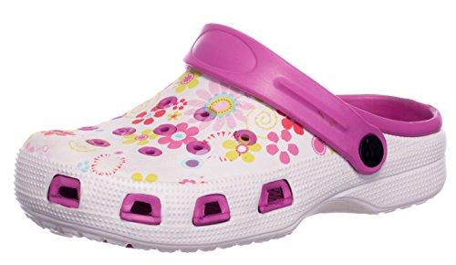 da Donna Floreale Zoccoli brandsseller Motivo Bianco Pantofole Scarpa Scarpe Rosa Bagno Ciabatte Sandali Giardino 5wYwZq1