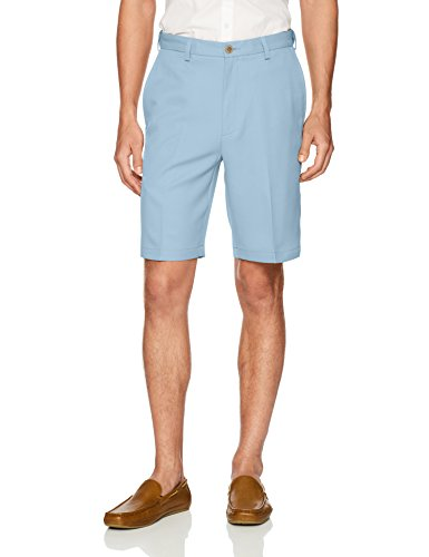 - Haggar Men's Cool 18 Pro Straight Fit Stretch Solid Flat Front Short, Light Blue, 40