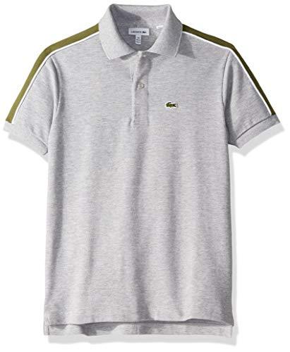 Lacoste Big BOY Athleisure Shoulder Striped Pique Polo, Silver Chine/Marsh, 14YR