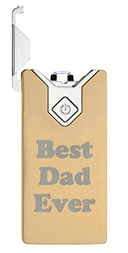 Windvape® Electric Plasma Lighter Scratchproof Surface - Best Dad Ever - Father's Day 40th/50th/60th/65th/70th/80th Happy Birthday Gifts for Dad (Yellow)