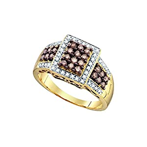 Size 6 - 10k Yellow Gold Round Chocolate Brown Diamond Square Cluster Ring 5/8 Cttw