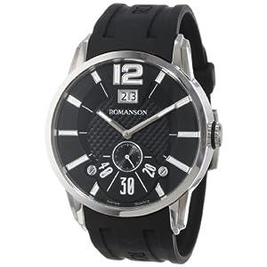 Romanson Men's TL9213MM1WA32W Modern Swiss Quartz Big Date Luminous Hands and Markers Watch