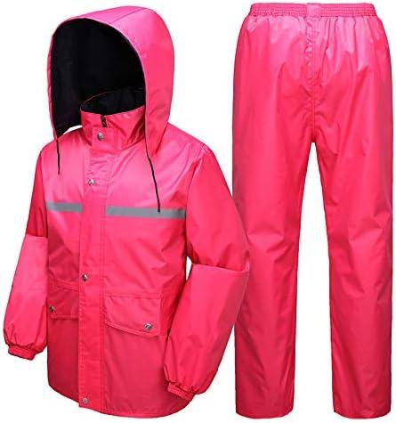 サイクリングレインコート サイクリングレインスーツレインジャケットレインコートパンツ雨は女性と男性のために防水オートバイのレインコート大人のシングル乗馬スプリットレインコートスーツを着用してください レインコートマント (色 : ピンク, サイズ : XXL)