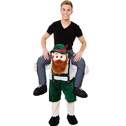 [Harulu Hot Bavarian Carry Me Beer Guy Ride On Mascot Oktoberfest Mascot Costume Christmas Green] (Hot Halloween Costumes For Guys)