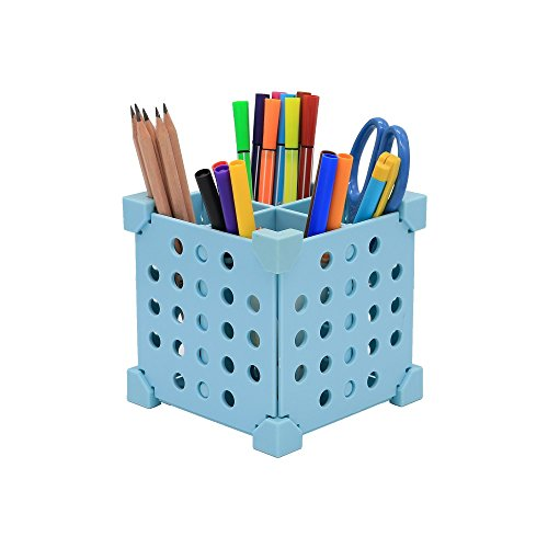 Desk Organizer, Pen&Pencil Holder for Pens, Pencils, Highlighters, Markers, Scissors; More Than 3 Ways of SELF-Assembling;2 Colors(Light Blue)