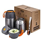 2 Pack Vacuum Insulated Thermos Food Jar, School Lunch Box for Kids, 24 oz,17 oz Stainless Steel Flask to Go Containers - Hot & Cold Meals Soup Bowls, Baby Food Storage