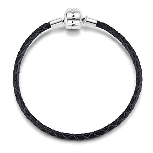 Chain Bracelet Woven Silver (TINYSAND Genuine Leather Woven Basic Bracelet with 925 Sterling Silver Snap Clasp Charms,6.7