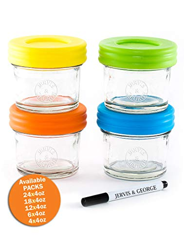 Glass Baby Food Storage Containers - Set contains 4 Small Reusable 4oz Jars with Airtight Lids - Safely Freeze your Homemade Baby Food