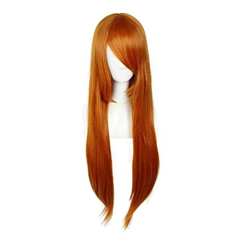 Fashion 11 Colors 80cm Long Straight Halloween Cosplay Wigs+Cap]()