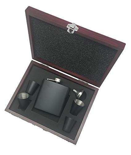 Flask Set | Comes in Presentation Box (Matte Black/Rosewood Box, 1)