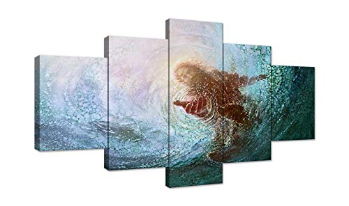 AMEMNY Jesus Reaching Into Water Wall Art Christ Poster Canvas Prints The Hand of God Home Decor for Bedroom Living Room Pictures HD Printed Painting 5 Pieces Artwork Framed Ready to Hang (Framed Pictures Christian)