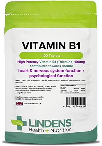 Lindens Vitamin B-1 100 tablets (Thiamin / Thiamine) One a Day B1