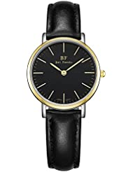 BETFEEDO Wrist Watch for Women, Waterproof Ultra Analog Quartz Classic Dress Watches with leather strap (Two-Tone...