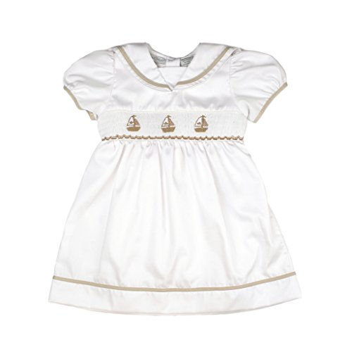 - Carriage Boutique Baby Girl Elegant Spring Dress - White Tan Nautical Sailboats, 18M (Infant)