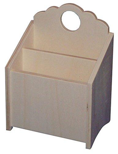 Caja de madera para posar o colgar. Interior con división. Madera en crudo para decorar.: Amazon.es: Hogar
