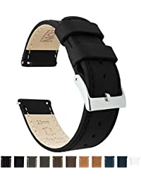 BARTON Quick Release Top Grain Leather Watch Strap - Choice of Colors & Widths (18mm, 20mm or 22mm) - Black 20mm Watch Band
