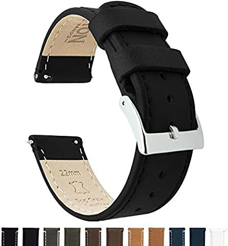 BARTON Quick Release Top Grain Leather Watch Band Strap - Choose Color & Width (18mm, 20mm or 22mm) - Black (Mens Strap Watches)