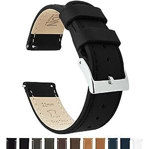 22mm Black/Black – Barton Quick Release – Top Grain Leather Watch Band Strap