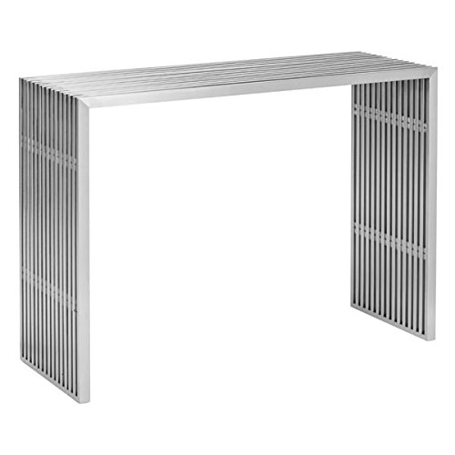 Desk Zuo Modern Modern (Zuo Modern 100085 Novel Console Table, Brushed Stainless Steel; Like Support Beams in a High Rise, The Novel Series is Strong and Sturdy; Made From 100% Stainless Steel; 150 lbs Weight Capacity)