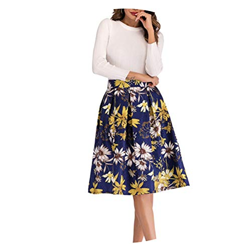 better-caress y Spring Big Swing Skirt Pleat Detail Midi Skirt Woman's Skirt High Waist A-Line Casual Skirts,Blue,L
